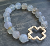 'Willow' Cross Choose Love Stone Bead Bracelet