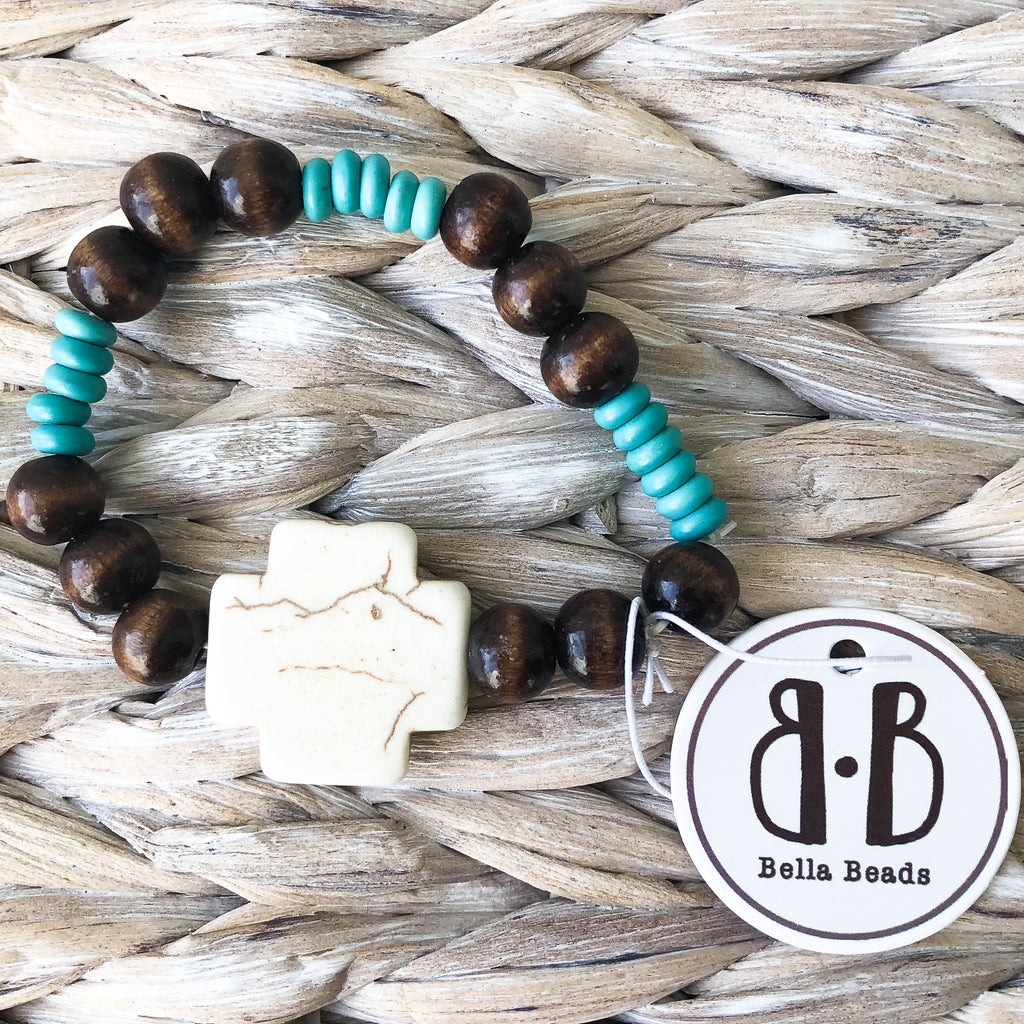 """Kory"" Wooden, Turquoise, and Bone Cross Bracelet"