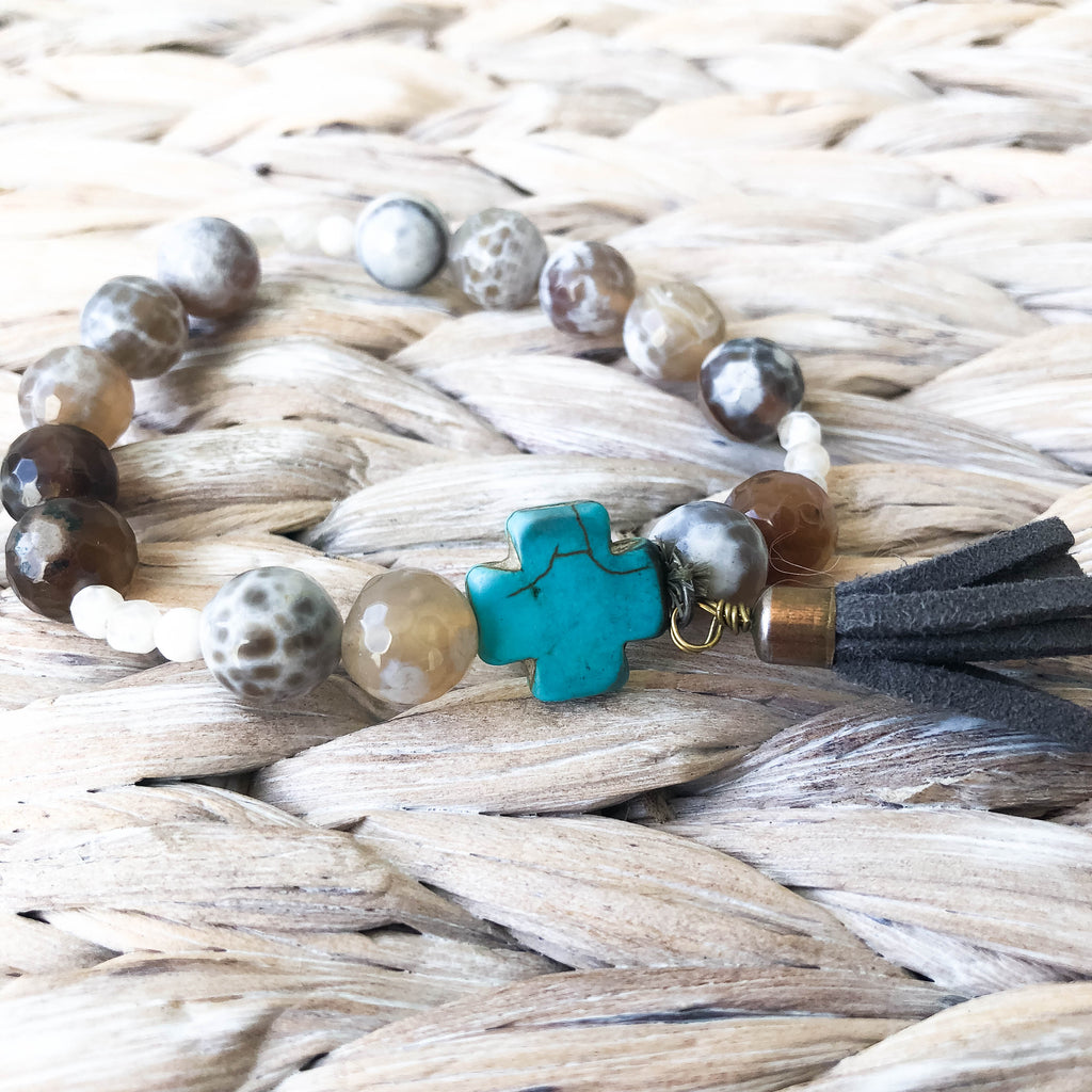 """Mason"" Brown Marbled and Turquoise Cross Bracelet"