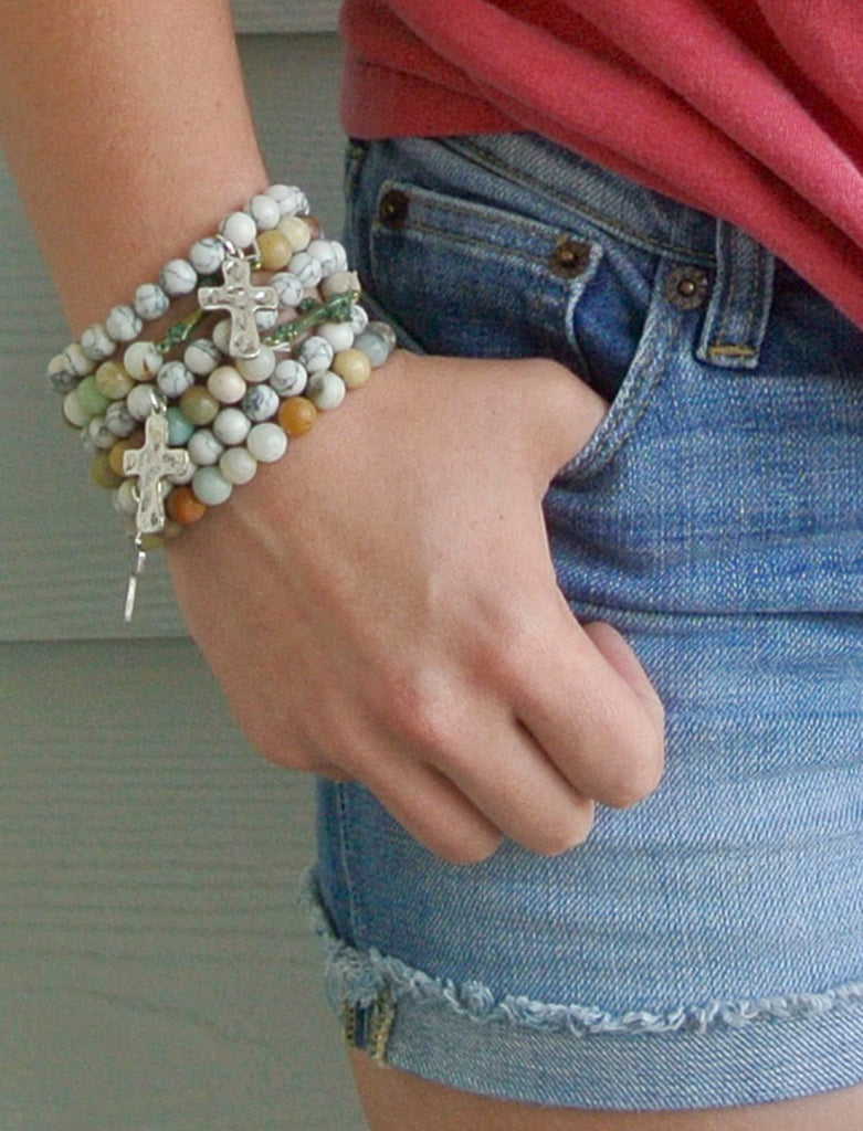 Turquoise Heart and Cross Bracelet