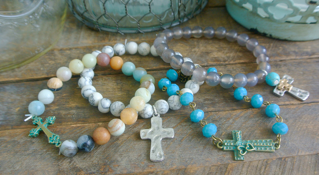 Grey Silver and Gold Cross Bracelet