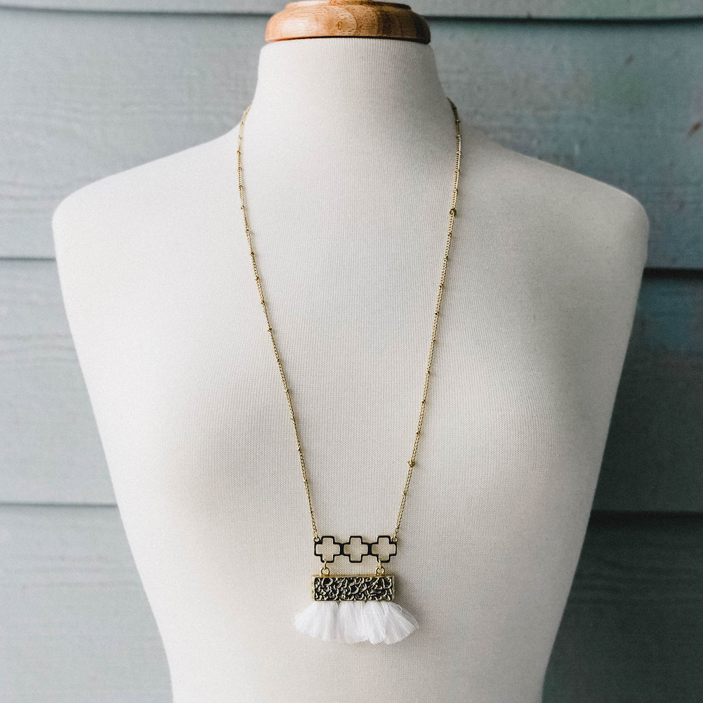 Fringe Necklace - White