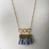 Fringe Necklace - Grey
