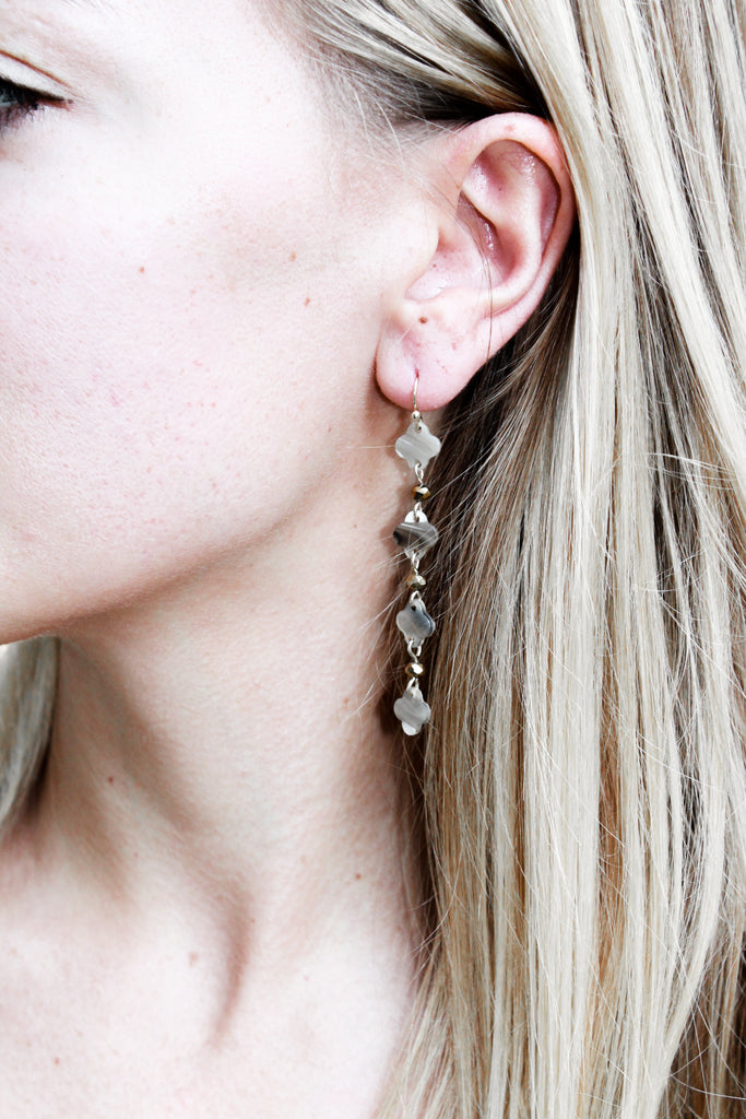 Taupe Resin Drop Earring