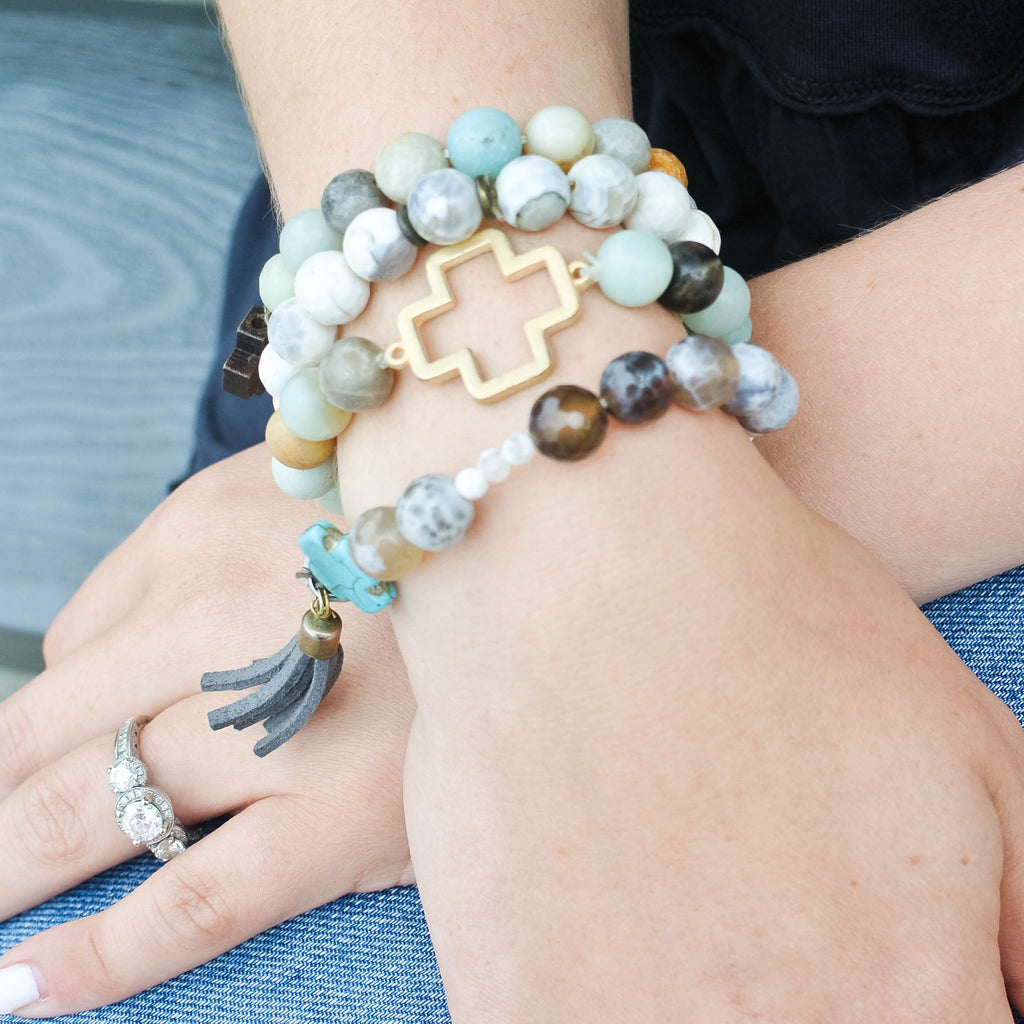 'Gigi' Cross Choose Love Stone Bead Bracelet
