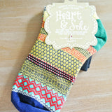 Forest Green Heel Navy Toe Socks