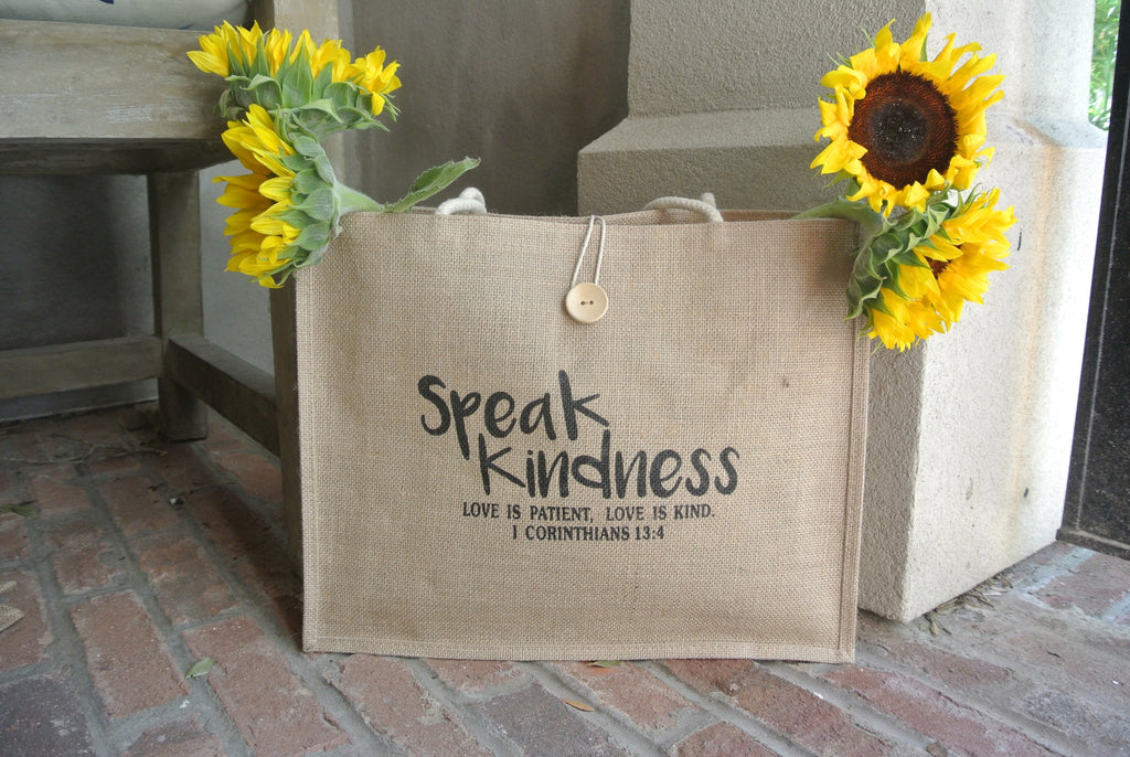 Speak Kindness Jute Tote