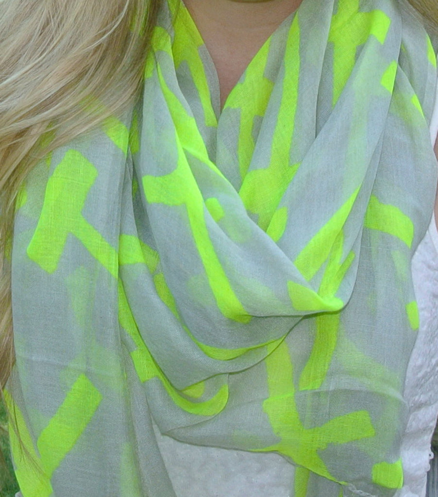 Neon Green Cross Scarf | SALE
