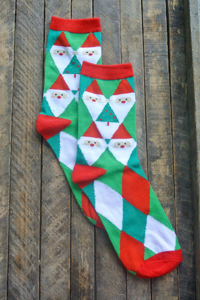 Red and Green Diamond Santa Crew Sock