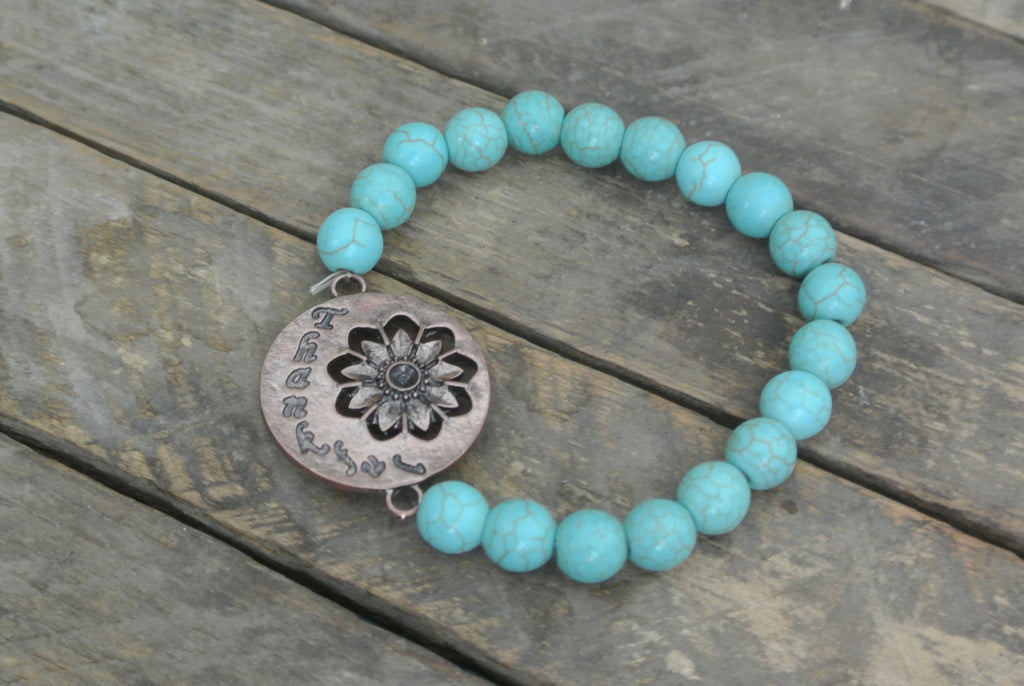 Turquoise beaded bracelet with Copper toned Thankful Charm