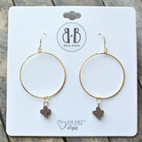 Chocolate Stone Cross 14K Dipped Gold Earrings