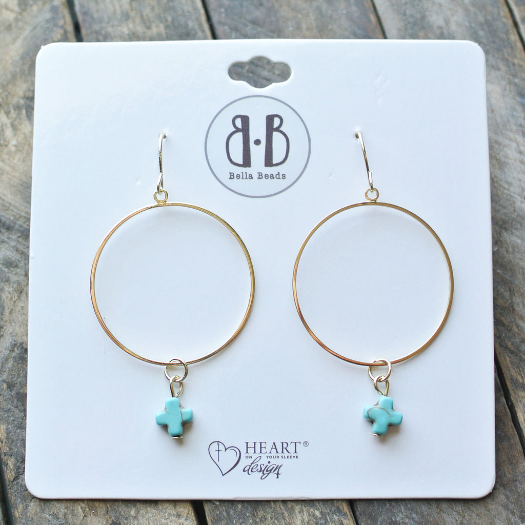 Turquoise Stone Cross 14K Dipped Gold Earrings