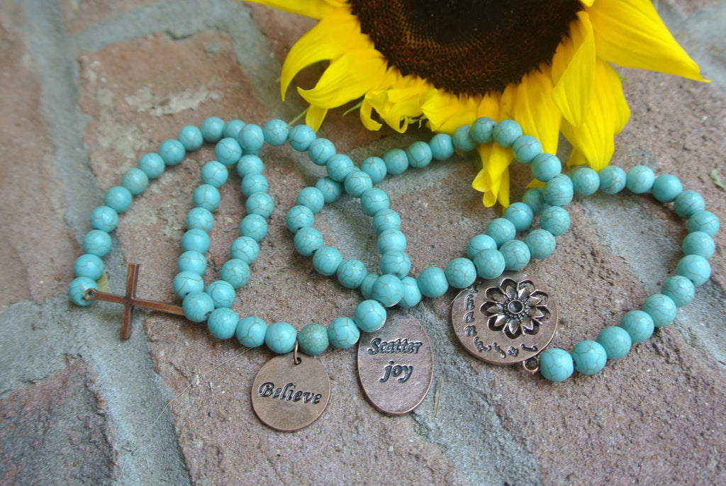 Turquoise beaded bracelet with Copper toned Scatter Joy Charm
