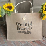 Grateful Heart Jute Tote