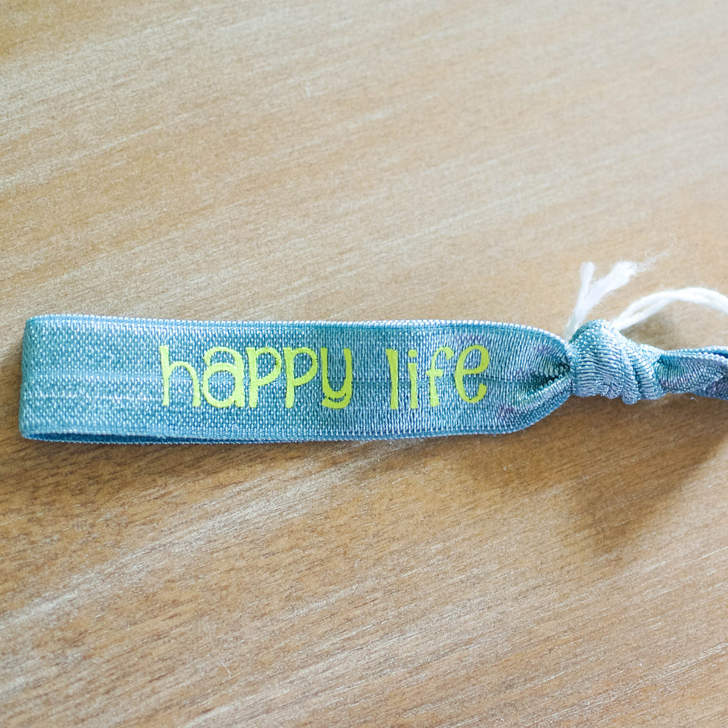 Happy Heart Happy Life Neon Blue hair tie with Neon green print