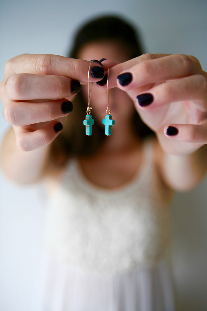 Stone Cross Turquoise Earrings