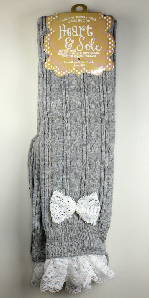Light Gray and Lace Boot Socks