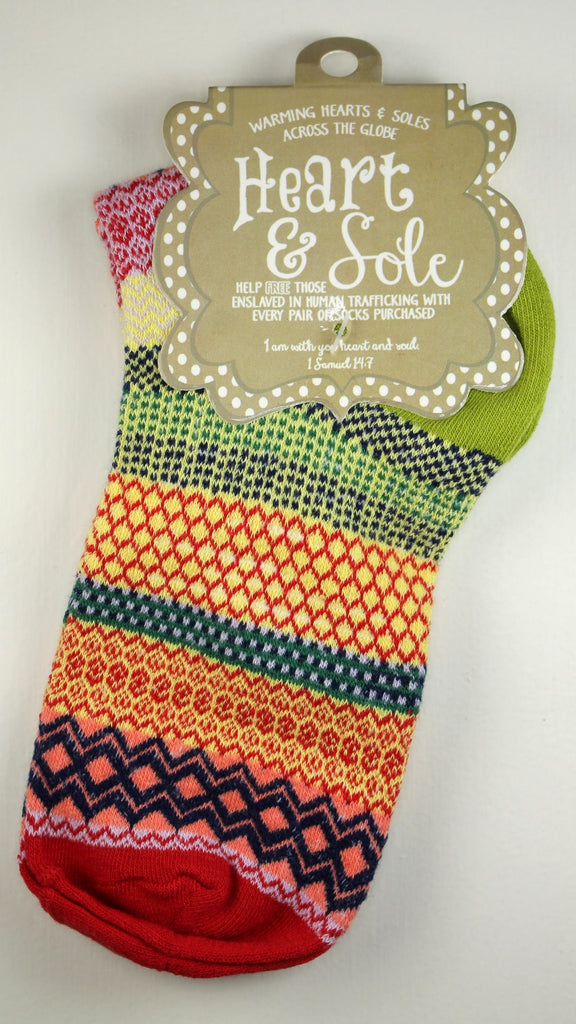 Lime Heel Cherry Red Toe Socks