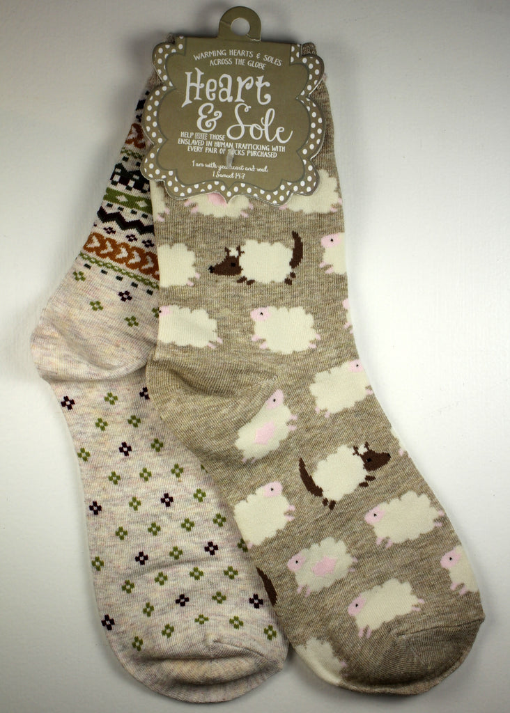 Sheep and Chevron Mix n' Match Socks