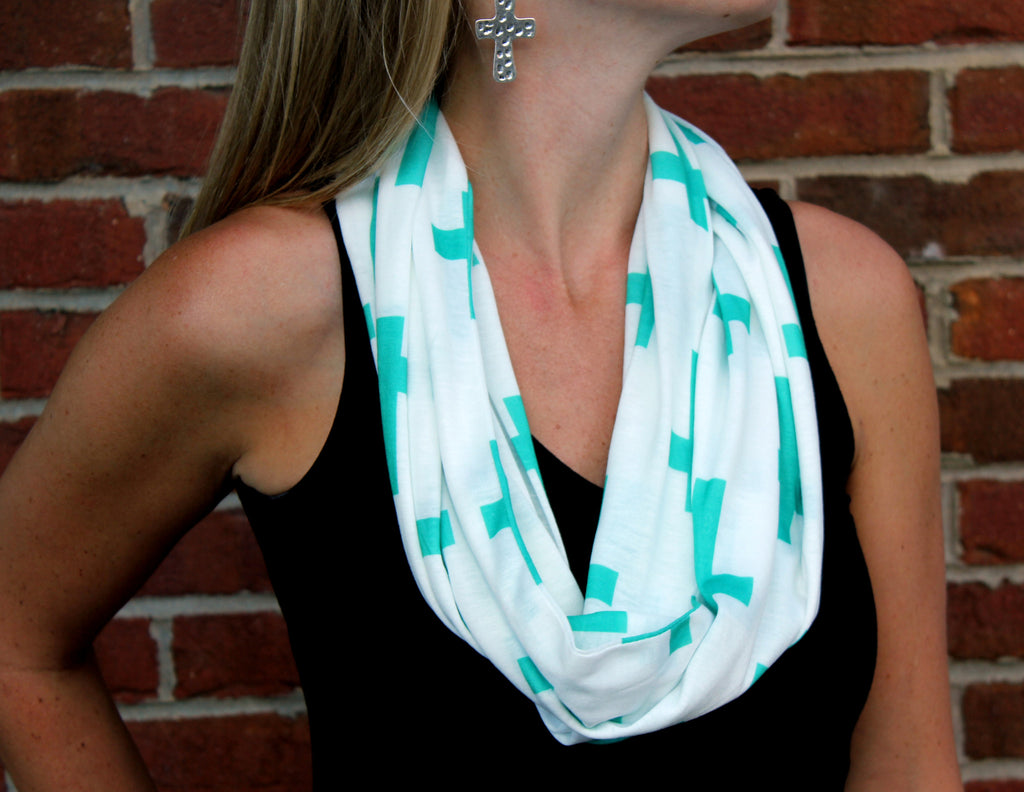 White with Turquoise Cross Scarf