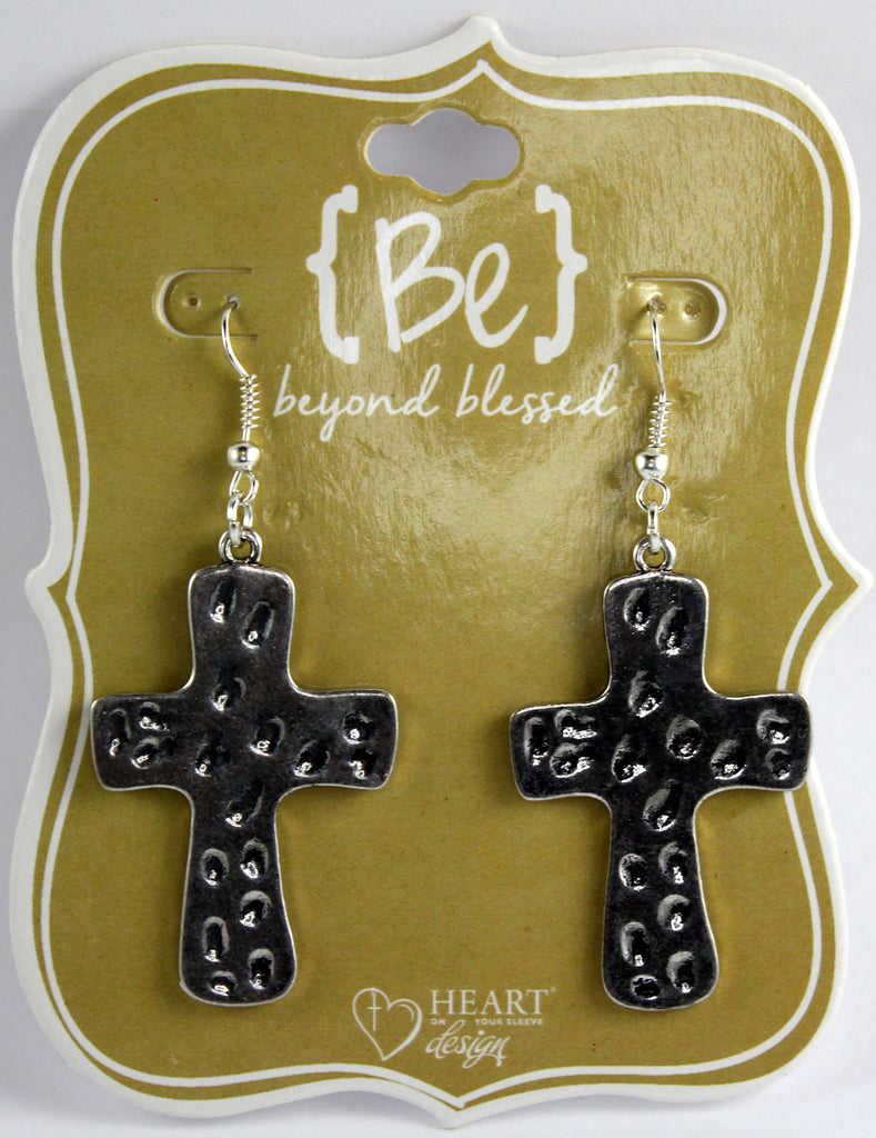 Silvertoned Cross Earrings