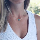 Turquoise Stone Cross 14K Dipped Gold Necklace