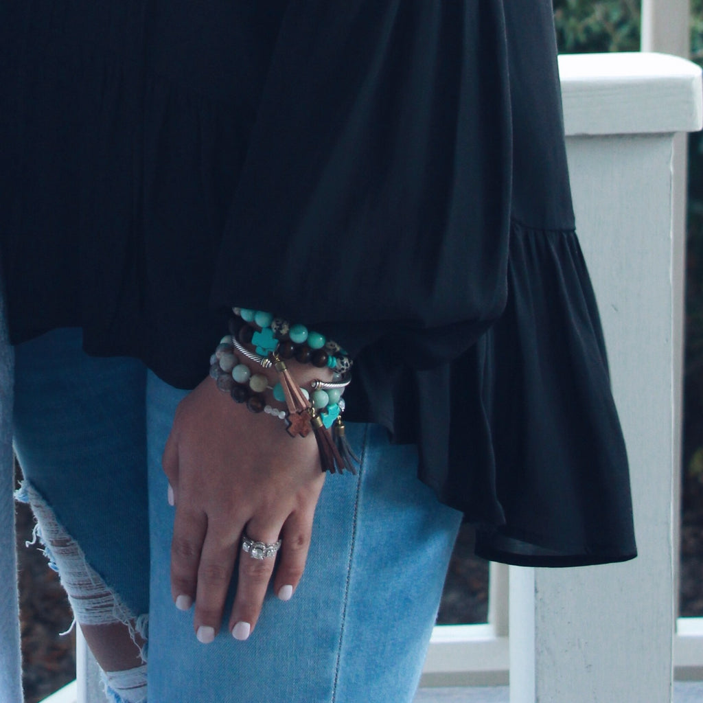 """Blair"" Wooden, Spotted, and Turquoise Cross Bracelet"