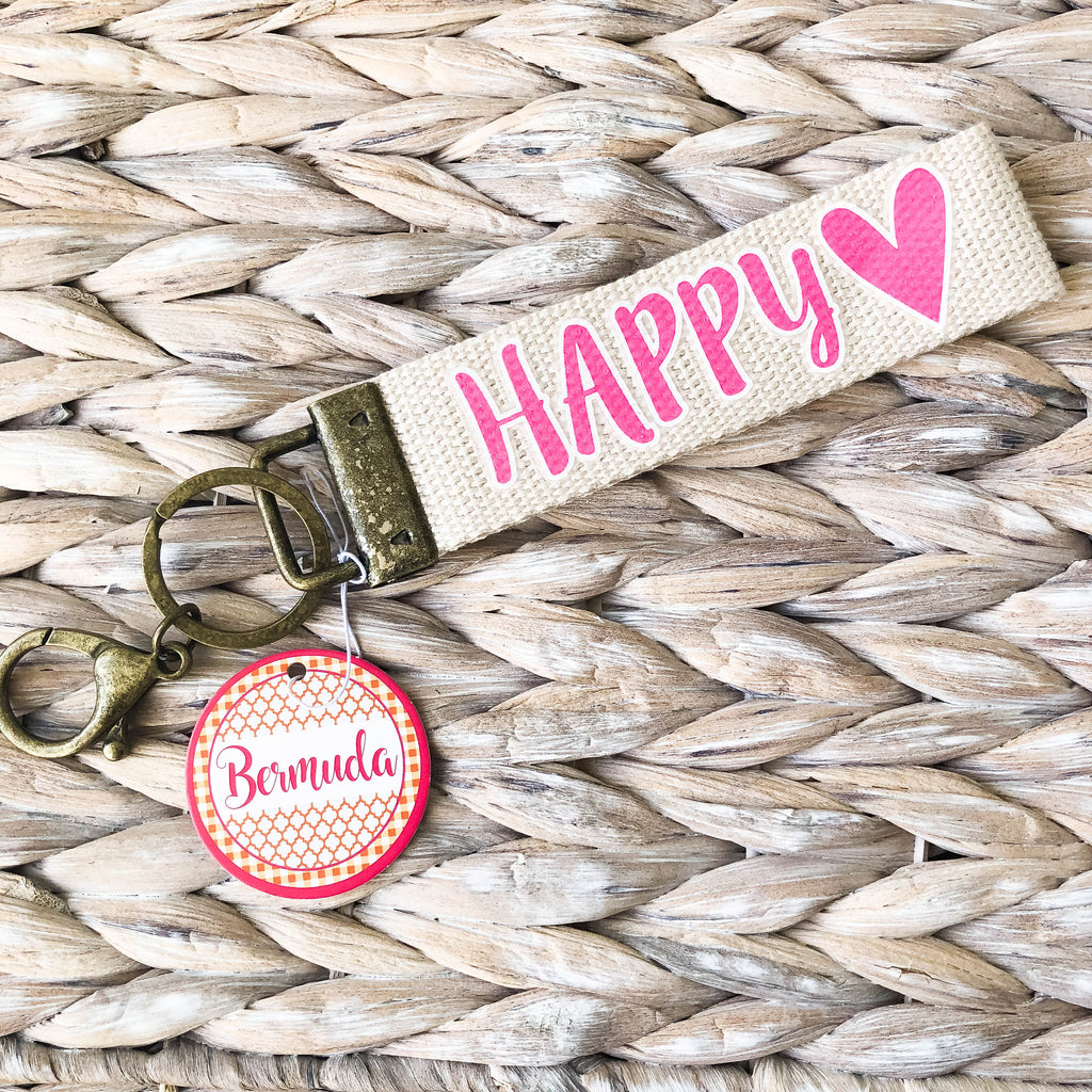 Pink Happy Heart Keychain