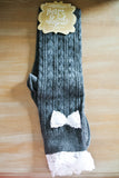 Dark Gray and Lace Boot Socks
