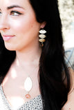 Gold Leaf Drop Earrings ~ Pink