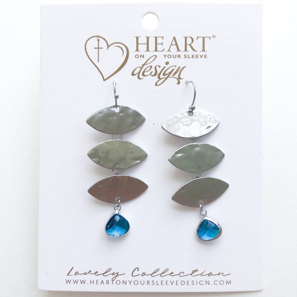 Leaf Drop Earrings ~ Peacock