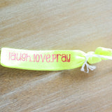Laugh, Love, Pray Neon Green Hair tie with Neon Pink print