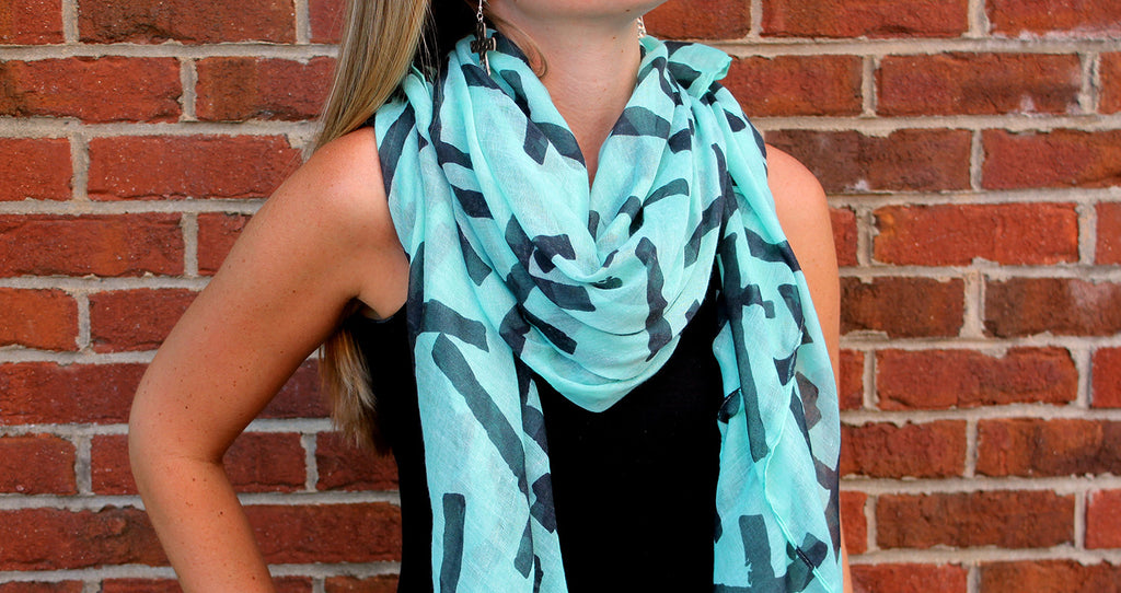 Mint Green with Dark Cross Scarf