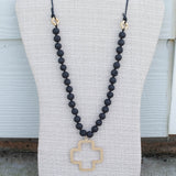 'Luna' Cross Choose Love Stone Bead & Genuine Leather Necklace