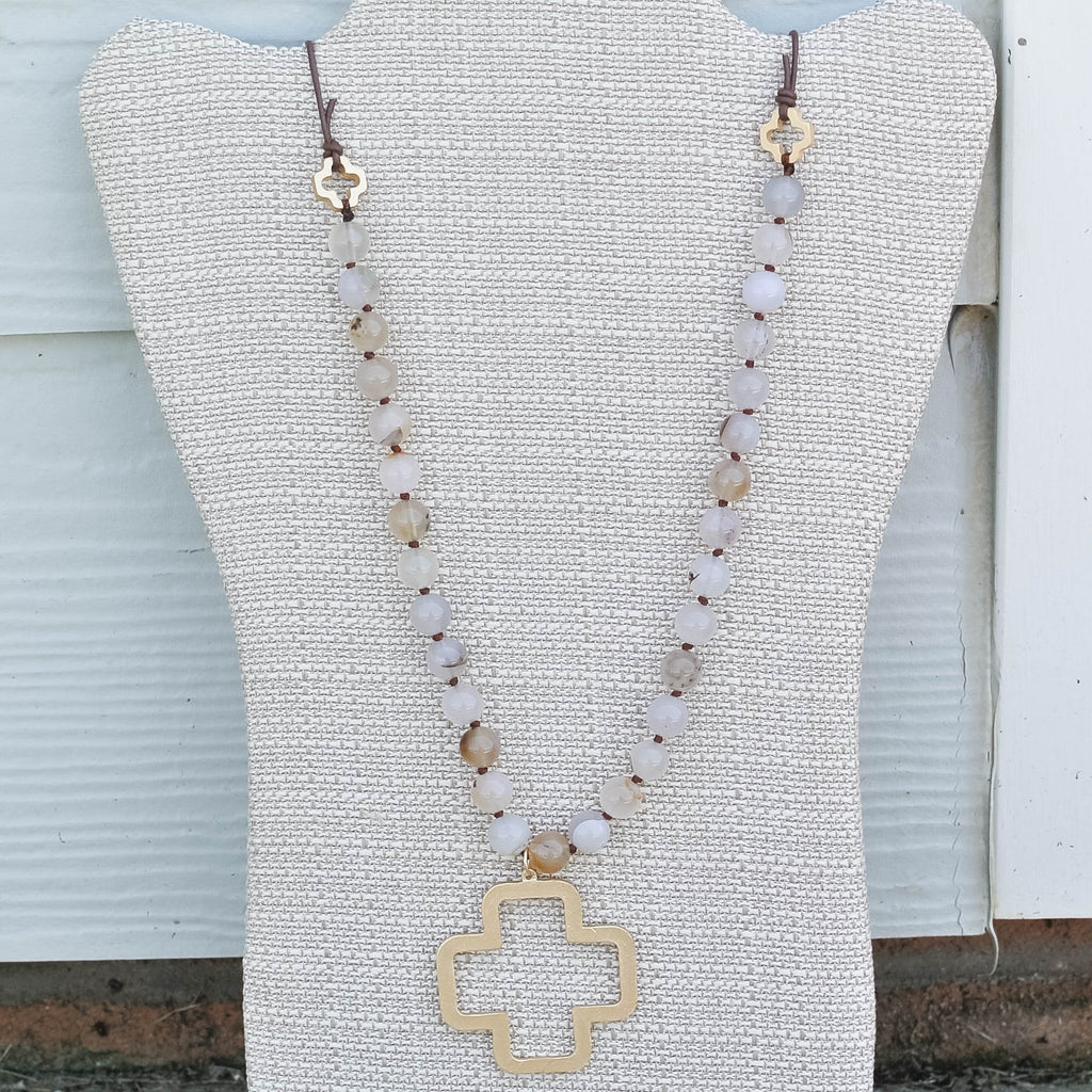 'Willow' Cross Choose Love Stone Bead & Genuine Leather Necklace