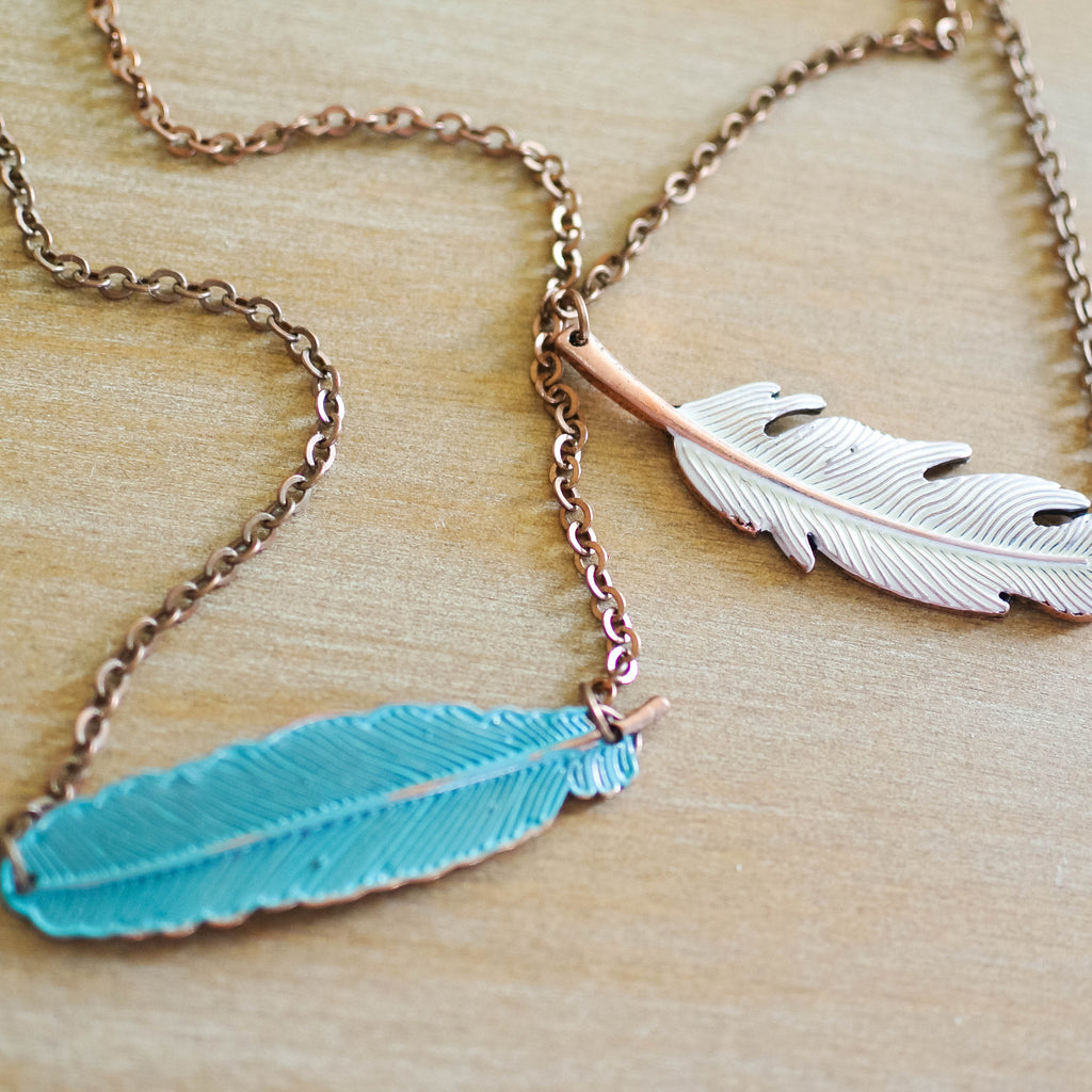 Cream Feather Necklace