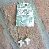 Stone Cross Bone Earrings