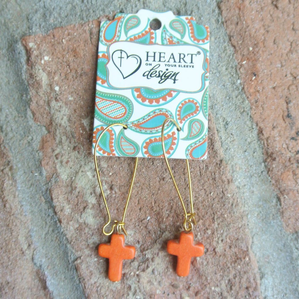 Stone Cross Coral Earrings