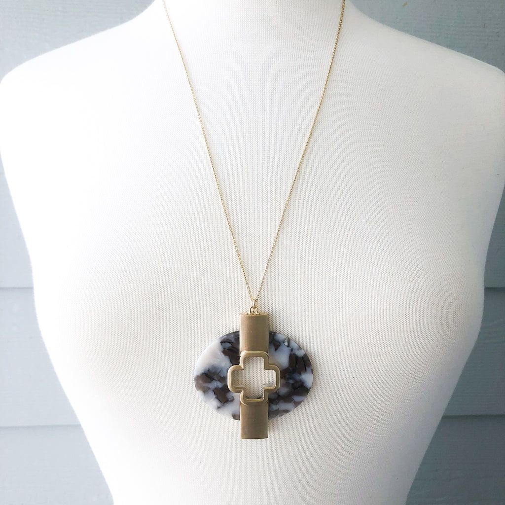 Grey Circle Cross Necklace