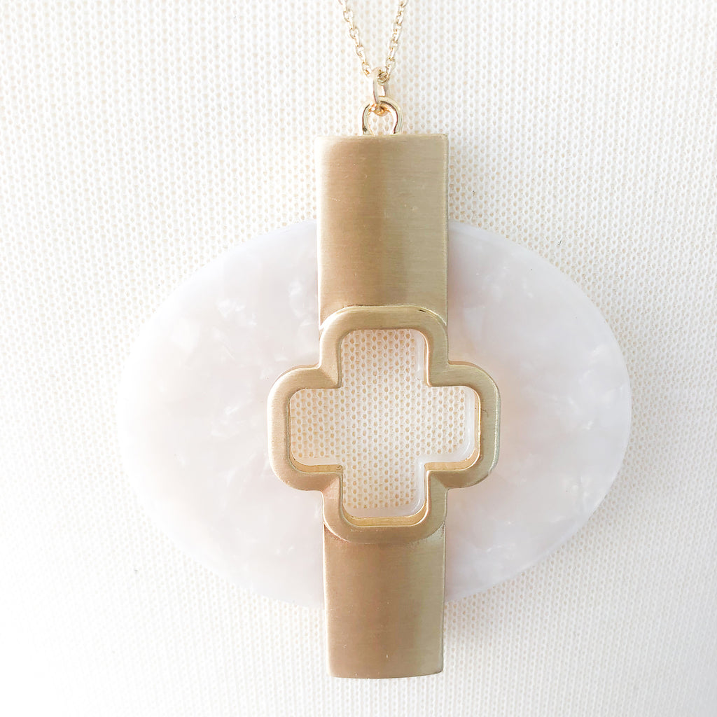 Brulee Circle Cross Necklace