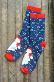 Navy Santa and Snowflake Crew Sock