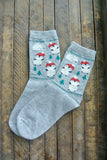 Grey Dancing Penguin Crew Sock