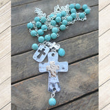 Silver & Gold Turquoise Cross Necklace