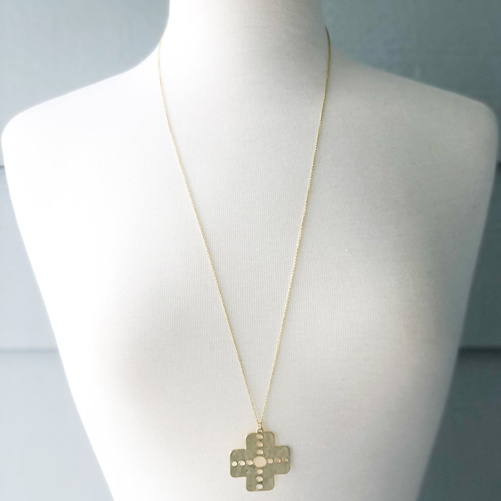 Cross Necklace with Discs