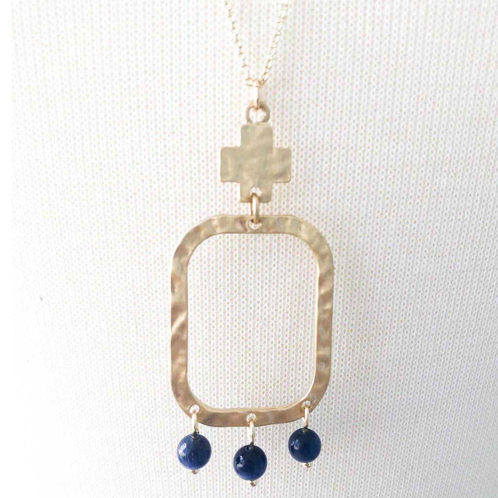 Navy Rectangle Necklace