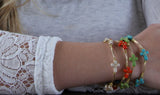 Large Stone Cross Coral Bangle Bracelet