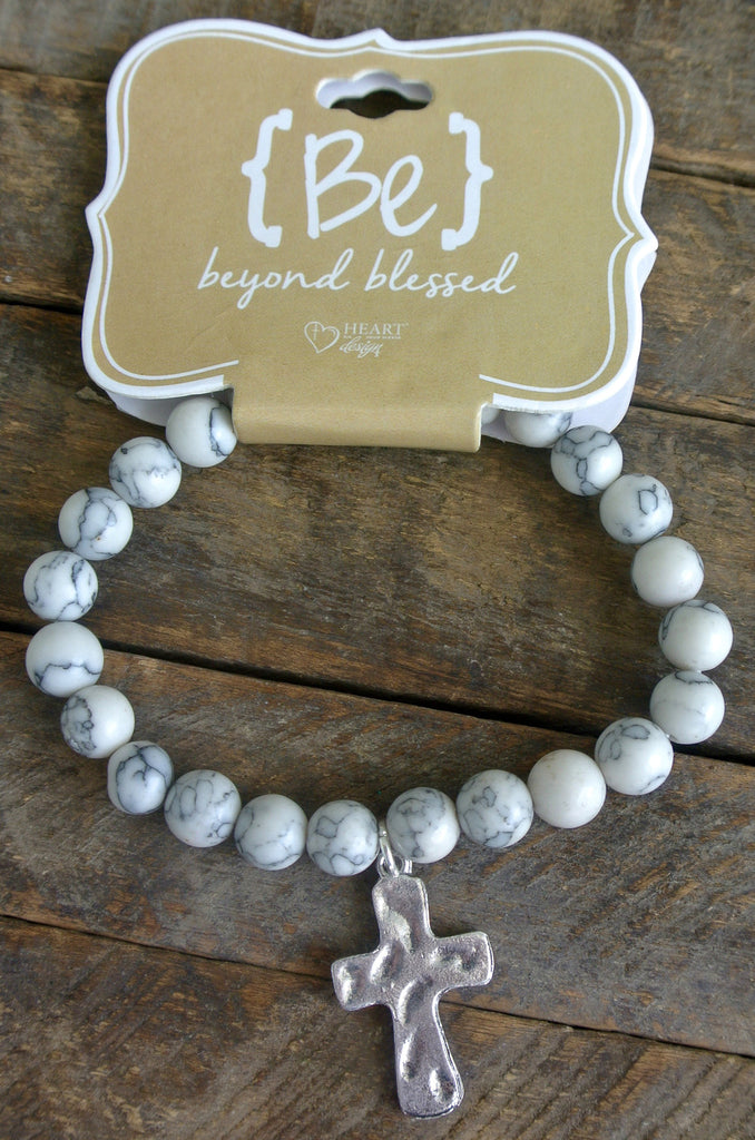 White Marbled Silver Cross Bracelet