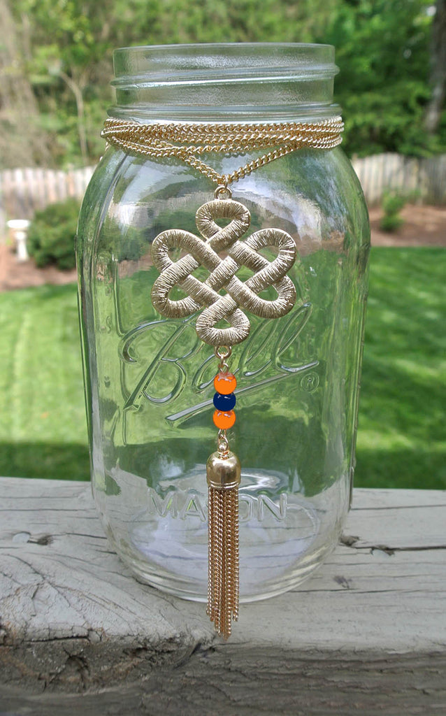 Navy and Orange Fan Flare Necklace