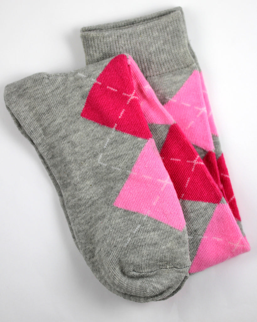 Pink and Gray Argyle Knee High Socks