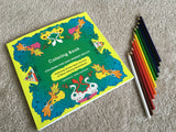 Adult coloring book + 12 pack of colored pencils